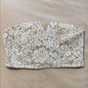 lace crop top strapless